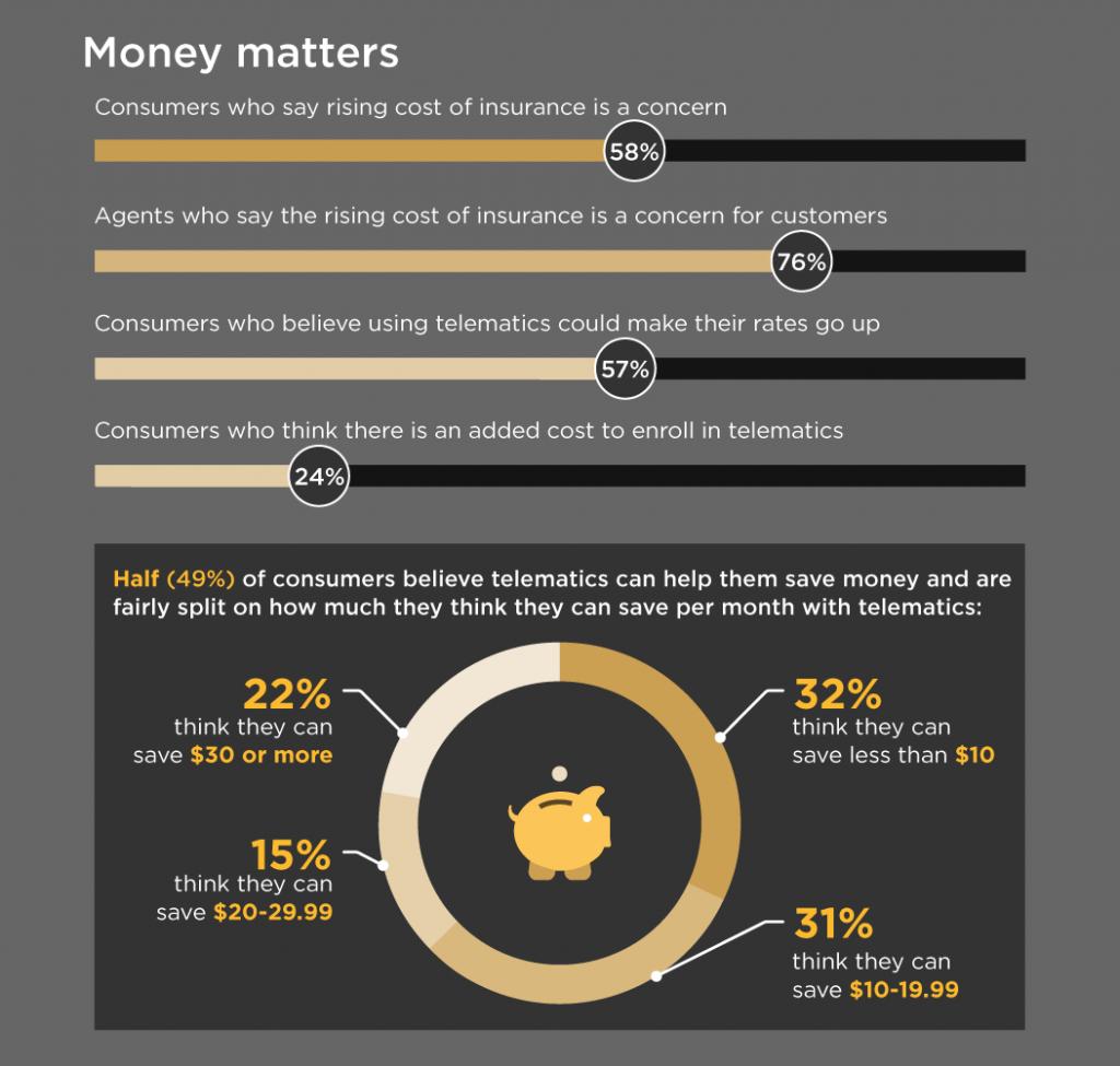 infographic detailing consumer cost concerns regarding telematics