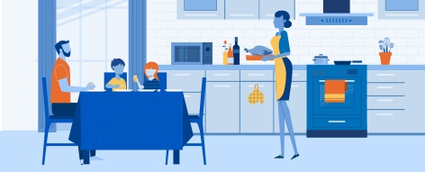 an artistic drawing of a woman in an apron bringing dinner to the table for her teenage daughter