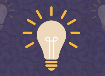 illustration of a light bulb on a purple background