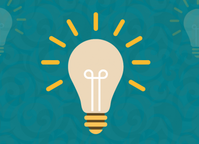 illustration of a light bulb on a turquoise background