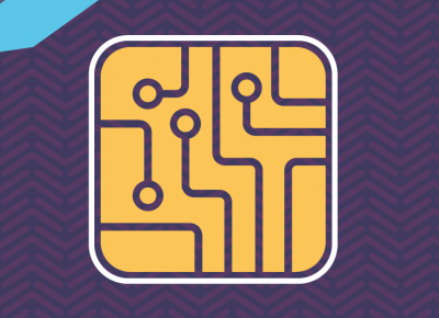 illustration of a yellow computer chip and light blue arrows on a purple background
