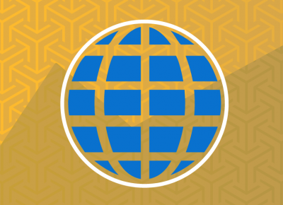 illustration of a blue globe on a yellow background