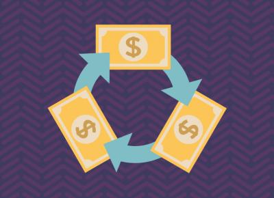 illustration of money on purple background