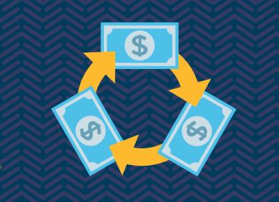illustration of money on blue background