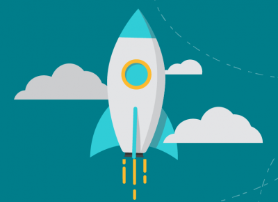 rocket ship graphic with clouds and teal background