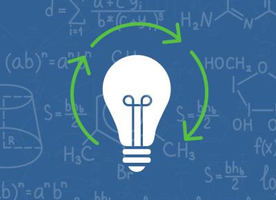 illustration of a lightbulb on a blue background