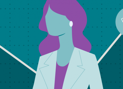 Illustration of a female agent on a blue background