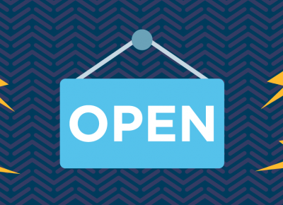 illustration of an open sign