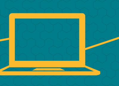 illustration of a yellow laptop surrounded by iconography on a teal background