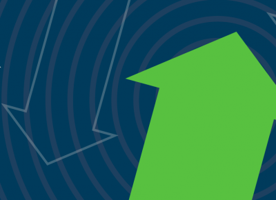 illustration of a light green arrow point up on a blue background