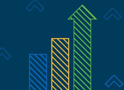 growth bar graph chart with blue background